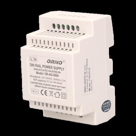 Zasilacz 12 V, 400 mA na szynę DIN ORNO OR-AD-5004