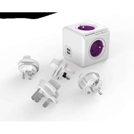 Rozgałęźnik PowerCube ReWirable z USB i wtyczkami podróżnymi EU, UK, US, AU - 4 x 230 V + 2 x USB