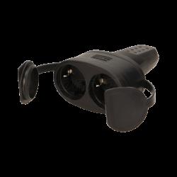 Gniazdo podwójne gumowe hermetyczne z zatyczką i uchwytem ORNO OR-AE-13117(GS) Schuko