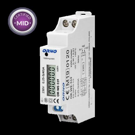 Licznik zużycia energii elektrycznej 1-fazowy 40 A ORNO OR-WE-519 - certyfikat MID