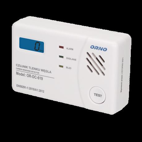Ceryfikowany czujnik tlenku węgla (czadu) ORNO OR-DC-619-TEST - bateryjny