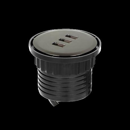 Przewodowa ładowarka 3 x USB wpuszczana w blat ORNO OR-GM-9013/B
