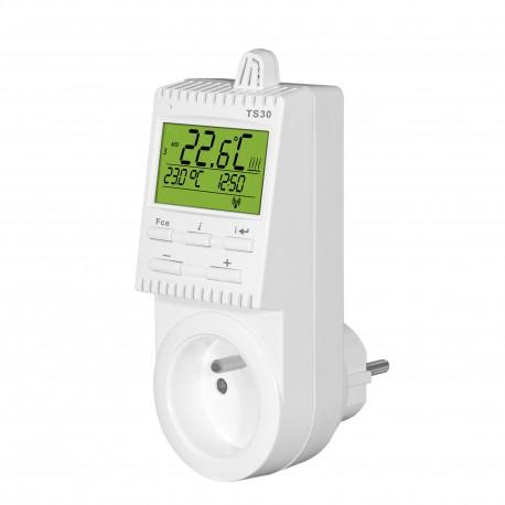 Termostat gniazdkowy Elektrobock TS30 z programatorem tygodniowym i podświetlanym wyświetlaczem
