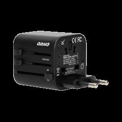 Adapter podróżny ORNO GOworld OR-AE-13173 do ponad 200 krajów, 100-240 V, 8 A