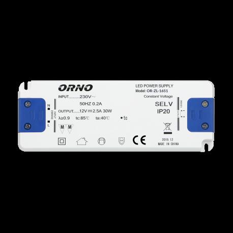 Zasilacz do LED 12 V ORNO OR-ZL-1651 płaski, 30W, IP20