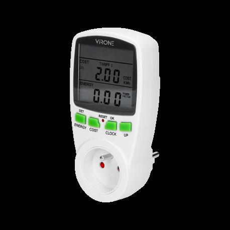 Miernik zużycia energii VIRONE EM-1 - gniazdkowy 2 taryfy z dużym wyświetlaczem LCD