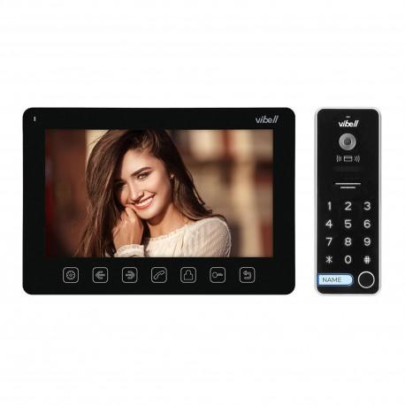 """Zestaw wideodomofonowy, bezsłuchawkowy, kolor, LCD 7"""", menu OSD, sterowanie bramą, z szyfratorem i RFID, czarny, ALCOR Orno"""