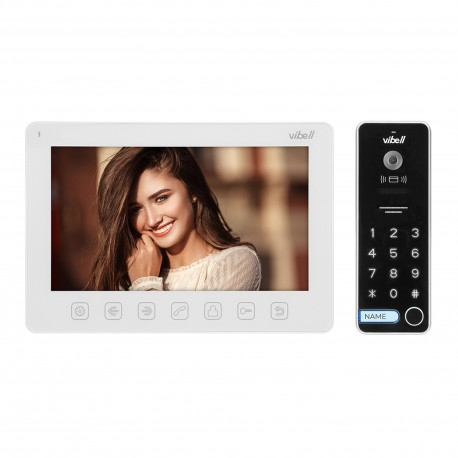 """Zestaw wideodomofonowy, bezsłuchawkowy, kolor, LCD 7"""", menu OSD, sterowanie bramą, z szyfratorem i RFID, biały, ALCOR Orno"""