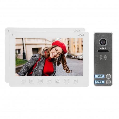 """Zestaw wideodomofonowy 2-rodzinny, bezsłuchawkowy, kolor, LCD 7"""", menu OSD, sterowanie bramą, biały NOVEO MULTI2 Orno"""