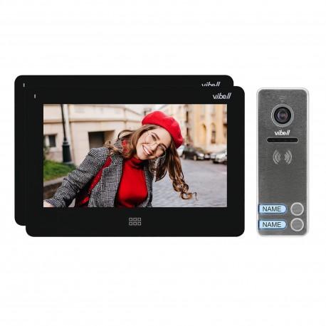 """Zestaw wideodomofonowy 2-rodzinny, bezsłuchawkowy kolor, LCD 7"""", dotykowy, menu OSD, pamięć, gniazdo na kartę SD, DVR,"""