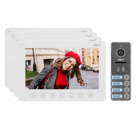 """Zestaw wideodomofonowy 4-rodzinny, bezsłuchawkowy, kolor, LCD 7"""", menu OSD, sterowanie bramą, biały NOVEO MULTI4 Orno"""