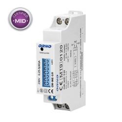 1-fazowy licznik energii elektrycznej, 40A, MID, wyjście impulsowe, podświetlenie, 1 moduł, DIN TH-35mm Orno OR-WE-521