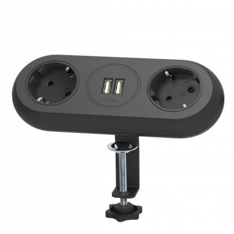 Gniazdo meblowe z uchwytem montażowym, ładowarką USB, 2 gniazda 2P+Z (Schuko), 2xUSB, przewód 3x1,5mm² - 1,4m, czarne Orno