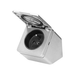 Gniazdo meblowe podszafkowe z klapką, IP44, 1x2P+Z, srebrne Orno OR-GM-9012/G