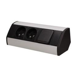 Gniazdo meblowe 2x2P+Z z wyłącznikiem, czarno-srebrne Orno OR-GM-9002/B-G