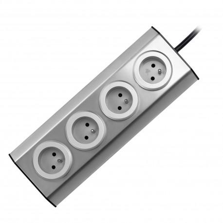Gniazdo meblowe, kuchenne montowane na rzepy 4x2P+Z INOX z przewodem 1,5m. Orno FS-2