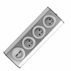 Gniazdo meblowe, kuchenne montowane na rzepy, z ładowarką USB - 3x2P+Z, 2xUSB, INOX. Orno FS-3