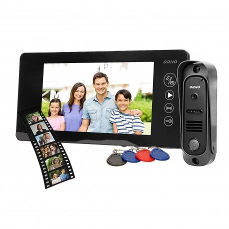 Wideodomofon przewodowy ARCUS RFID ORNO OR-VID-JS-1053/B, 7˝, pamięć, czytnik karty i breloków zbliżeniowych, czarny