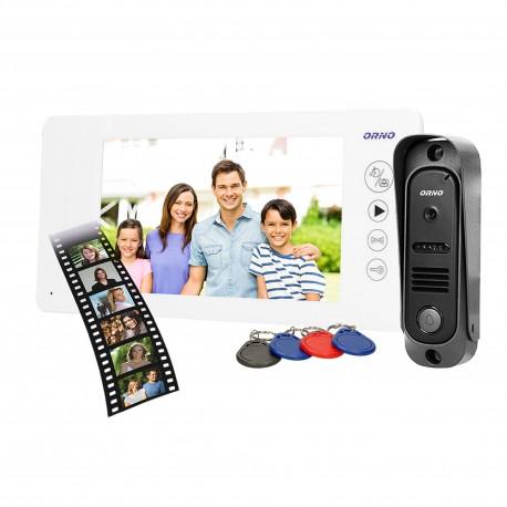 Wideodomofon przewodowy ARCUS RFID ORNO OR-VID-JS-1053/W, 7˝, pin hole z czytnikiem breloków i kart zbliżeniowych, biały