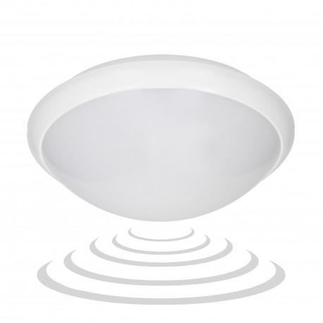 BREVA LED 16W, plafon z mikrofalowym czujnikiem ruchu, 1200lm, IP54, 4000K, poliwęglan mleczny, biały Orno OR-PL-316WLPMM4