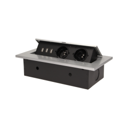 Gniazda do blatu 2 x 230 V + 3 x USB - ORNO OR-AE-1324/G - srebrne