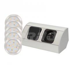 Oprawy podszafkowe 5 szt. z oświetleniem LED i gniazdem 230 V - ORNO OR-AE-1318
