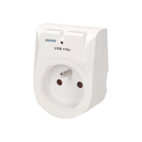 Ładowarka sieciowa USB z gniazdem elektrycznym ORNO OR-AE-1305
