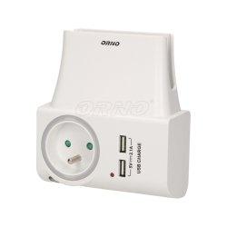 Ładowarka USB sieciowa z gniazdem elektrycznym i lampką nocną ORNO OR-AE-1323 - 2 kolory