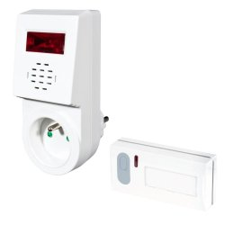 Bezprzewodowy dzwonek Elektrobock BZ3-1S z sygnalizacją świetlną i gniazdem wtykowym