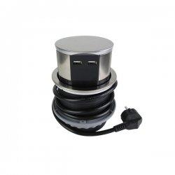 Gniazdo meblowe wysuwane z blatu 3 x 250 V + 2 x USB ORNO OR-AE-1381 INOX, przewód 1,5 m