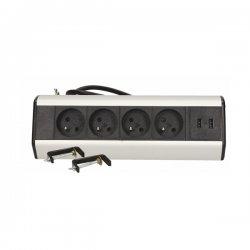 Gniazdo biurkowe z uchwytami montażowymi 4 x 250 V z ładowarką USB ORNO OR-AE-13107 z 1,8 m przewodu