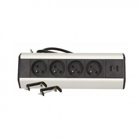 Gniazdo biurkowe z uchwytami montażowymi 4x250V AC + ładowarka USB ORNO OR-AE-13107 z 1,8 m przewodu