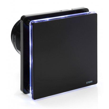 Wentylator łazienkowy STERR BFS100LT-B kolor czarny z wyłącznikiem czasowym i podświetleniem LED