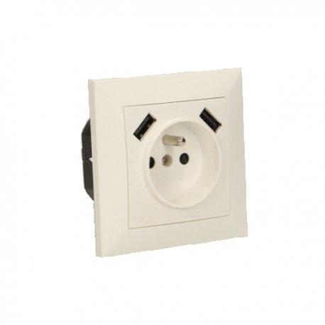 Gniazdo elektryczne 230 V z ładowarką USB ORNO OR-AE-13112, podtynkowe