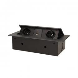 Gniazda do blatu 2 x 250 V ORNO OR-AE-13109 z gniazdami ładowarki USB - 2 kolory - płaski frezowany rant