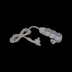 Przedłużacz 1,5 m 3 gniazda z płaską wtyczką 3x2P+Z ORNO OR-AE-1329/G/1,5M, szary