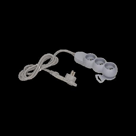 Przedłużacz 3 m z płaską wtyczką 3x2P+Z ORNO OR-AE-1329/G/3M, szary
