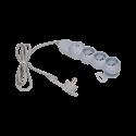 Przedłużacz 5 m 3 gniazda z płaską wtyczką i wyłącznikiem 3x2P+Z ORNO OR-AE-1313/G/5M, szary
