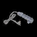 Przedłużacz 5 m 4 gniazda z płaską wtyczką i wyłącznikiem 4x2P+Z ORNO OR-AE-1331/G/5M, szary