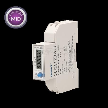 Licznik zużycia energii elektrycznej 1-fazowy wielotaryfowy z portem RS485 100 A ORNO OR-WE-515 - certyfikat MID