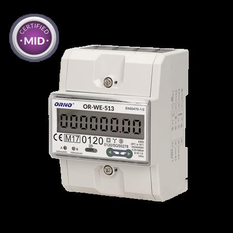Licznik zużycia energii elektrycznej 3-fazowy 80 A ORNO OR-WE-513 - certyfikat MID