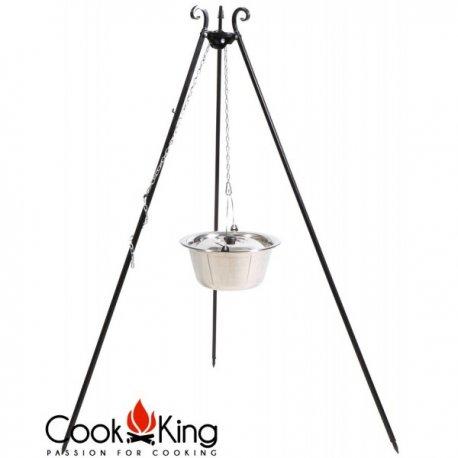 Kociołek węgierski na trójnogu CookKing nierdzewny, pojemność 10 l / wysokość 180 cm