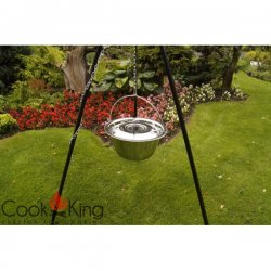 Kociołek węgierski na trójnogu CookKing nierdzewny, pojemność 14 l / wysokość 180 cm