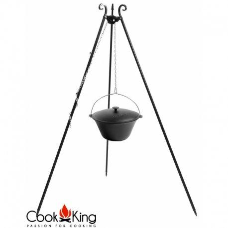 Kociołek węgierski na trójnogu CookKing żeliwny, pojemność 11 l / wysokość 180 cm