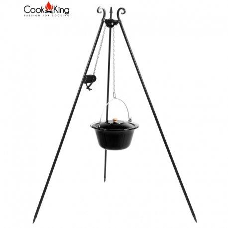 Kociołek węgierski z kołowrotkiem na trójnogu CookKing emaliowany pojemność 14 l / wysokość 180 cm