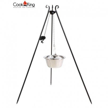 Kociołek węgierski z kołowrotkiem na trójnogu CookKing nierdzewny pojemność 10 l / wysokość 180 cm