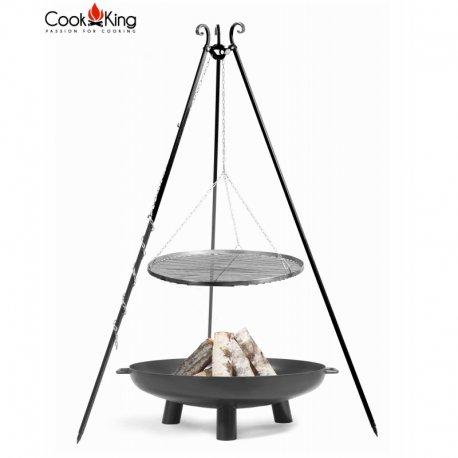 Grill ogrodowy CookKing na trójnogu 180 cm, stalowy ruszt 80 cm + palenisko Bali 100 cm