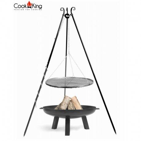 Grill ogrodowy CookKing na trójnogu 180 cm, stalowy ruszt 70 cm + palenisko Polo 80 cm