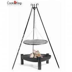 Grill ogrodowy CookKing na trójnogu 180 cm, stalowy ruszt 70 cm + palenisko Palma 80 cm