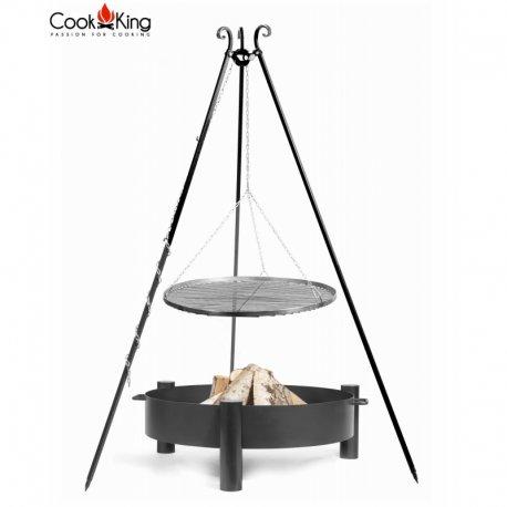 Grill ogrodowy CookKing na trójnogu 180 cm, stalowy ruszt 70 cm + palenisko Haiti 80 cm
